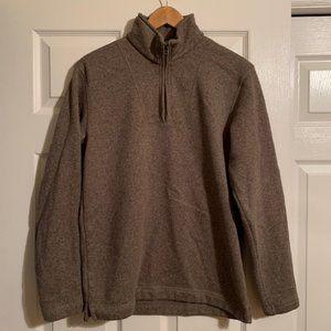 Eddie Bauer brown 1/4 zip fleece lined pullover SM